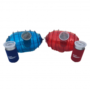 Red and Blue Tow-Behind-Boat Ice Cream Makers side by side